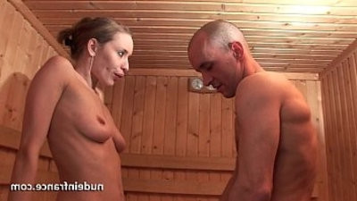 Horny light haicrimsone hard style fucked while getting pussy trimd in a sauna