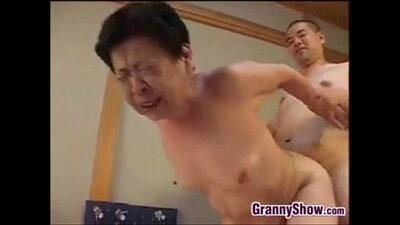 Mind blowing Japanese grandmother blowjob
