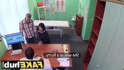 Fake Hospital Czech doctor cums all over horny cfevering wifeys teen fingering her pussy