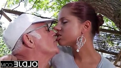 Young Girlfriend caught fucked by old man she deepmouths his dick and swpermits cum