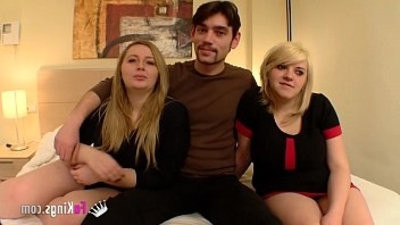 Blonde cousins introducing the stud they starletted having lovemaking with