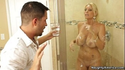 chesty blondee mummy gets her asshole fucked in the bathroom who is she