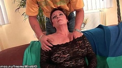 Sexy grandma string ups his cock in her mouth and hairy cunt