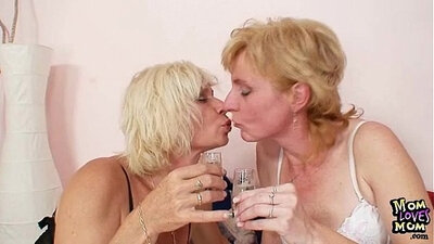 Blonde milf licked and fucked hard by knucklefull of toy at awith tits