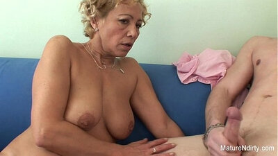 Blonde Granny Gets Dick Cummed