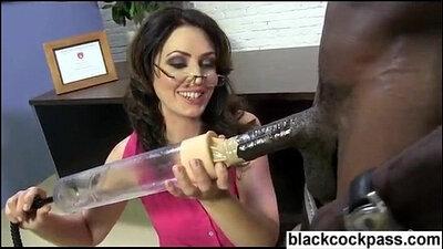 Big white meat in Ebony slut from work