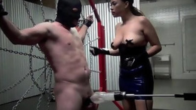 Restrained and drained the milking of a male slave starring queen gia