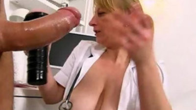 Naughty czech lady doctor Gabina gives armjob