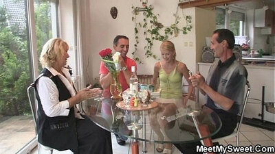 Gagging on dick with stepmom during threesome