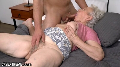 Chained Granny next to big dick