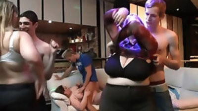 She fucks while her fat GFs watch