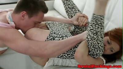 Hot 19 year old gets a huge BBC doggystyle