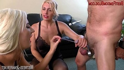 Two female domination Mistresses ruin a cock