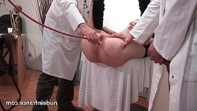 Naughty ash blondee ass plugged in threesome at the gyneco
