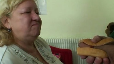 chesty granny tastes yummy cock