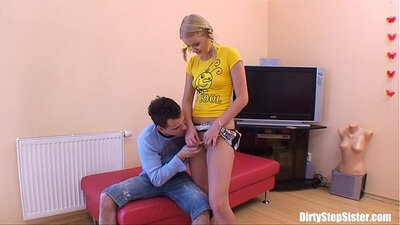 Teen Russian Blonde tries to get fucked by her sister