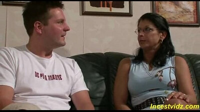 German escort mom helps younger girl to get fucked by step son
