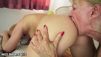 Young and old lesbian girls make love with dildo fun