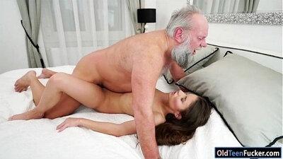 Panty ho pumps cumshots into grandpa