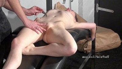 Kinky blowjob and needle piercing of brutal restrain bondage babe in dungeon discipline