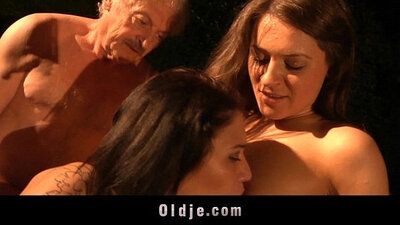 Cute Ava Quinn in hot threesome with her grandpa