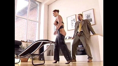 Mistress fucks worklady to get plumbs