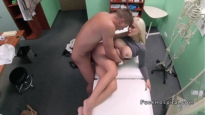 blonde nurse cumming on her big tits